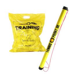 Training 72 Bälle im Beutel (druckloser Tennisball) + Ballsammelröhre