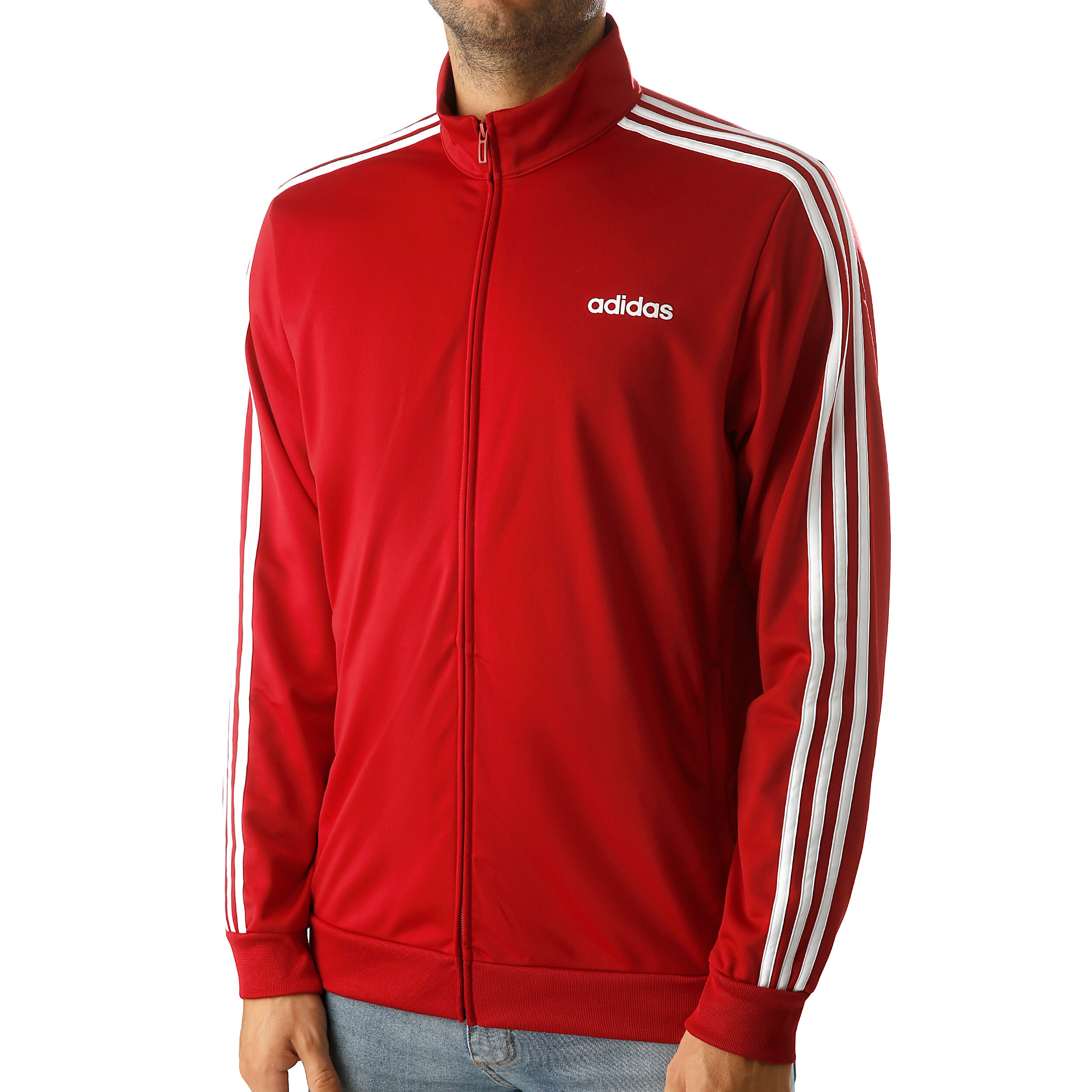 adidas Essentials 3 Stripes Tricot Track Jacket Burgundy